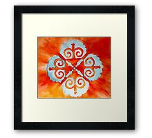 orange ethnic pattern Framed Print