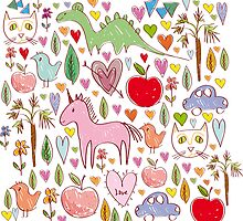 baby sketch pattern with animals and hearts by EkaterinaP