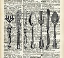Vintage Cutlery Set,Spoon,Fork,Knife,Antique Dinning,Old-Fashioned by DictionaryArt