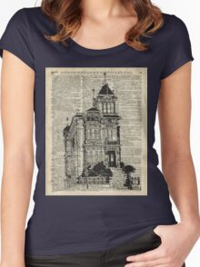 Vintage House,Old Villa,Mansion Ink Illustration over Dictionary page Women's Fitted Scoop T-Shirt