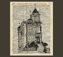 Vintage House,Old Villa,Mansion Ink Illustration over Dictionary page Unisex T-Shirt