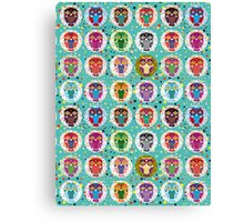 funny colorful owls Canvas Print