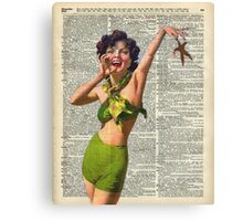 Vintage Girl with a starfish,60',70',Sunbathing,Summer,Holidays,Dictionary Art Canvas Print