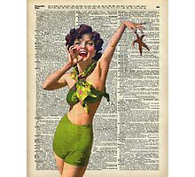 Vintage Girl with a starfish,60',70',Sunbathing,Summer,Holidays,Dictionary Art Photographic Print