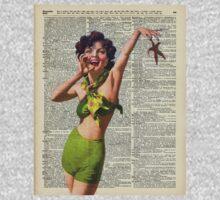 Vintage Girl with a starfish,60',70',Sunbathing,Summer,Holidays,Dictionary Art Kids Tee