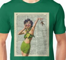 Vintage Girl with a starfish,60',70',Sunbathing,Summer,Holidays,Dictionary Art Unisex T-Shirt