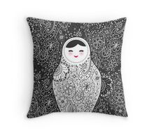 Cute doll matrioshka Babushka on black background Throw Pillow