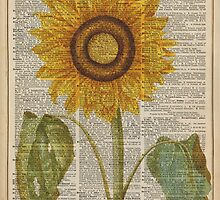 Sunflower over dictionary page,Summer Flower,Vintage Illustration Dictionary Art by DictionaryArt