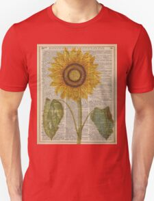 Sunflower over dictionary page,Summer Flower,Vintage Illustration Dictionary Art T-Shirt