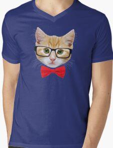 The Geek Cat Mens V-Neck T-Shirt