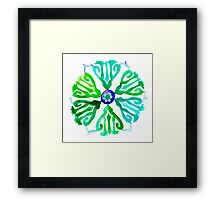 green ethnic circle  Framed Print