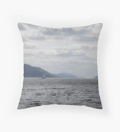 Yacht on Loch Ness Throw Pillow