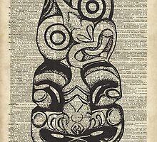 Mask Voo Doo Ink Illustration,Psychodelic,Primeaeval Art,Dictionary by DictionaryArt