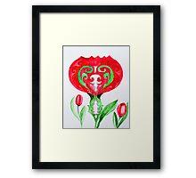 red ethnic tulip Framed Print