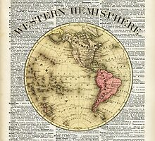 Western Hemisphere Earth map,Vintage Illustration Over Old Encyclopedia Page,Dictionary Art by DictionaryArt