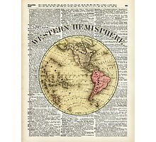 Western Hemisphere Earth map,Vintage Illustration Over Old Encyclopedia Page,Dictionary Art Photographic Print
