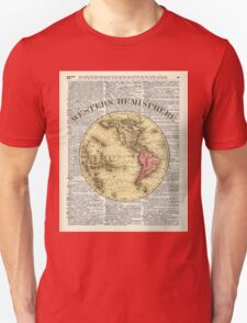 Western Hemisphere Earth map,Vintage Illustration Over Old Encyclopedia Page,Dictionary Art Unisex T-Shirt