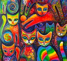 Rainbow cats acrylics by Karin Zeller