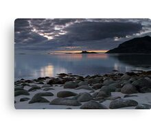 Rocks on a sandy beach Canvas Print