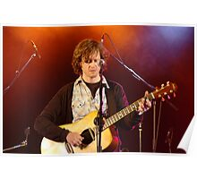 Rock singer with acoustic guitar Poster