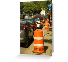 Parking and road works in the USA Greeting Card
