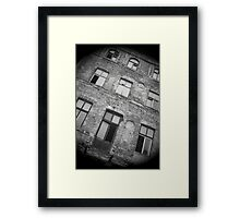 Derelict old apartment building in Warsaw Poland Framed Print