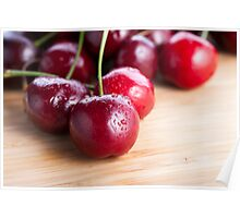 Cherries on Cutting Board Poster