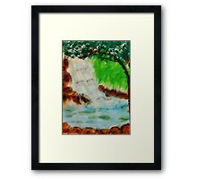 Cooling waterfall, watercolor Framed Print
