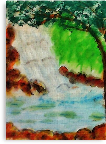 Cooling waterfall, watercolor by Anna  Lewis, blind artist