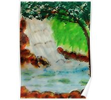 Cooling waterfall, watercolor Poster
