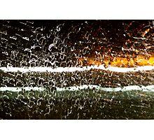 Rain Drops and Neon Photographic Print