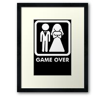 Game Over Funny T-Shirt Marriage Wedding Party Groom Couple Love T-Shirt Framed Print