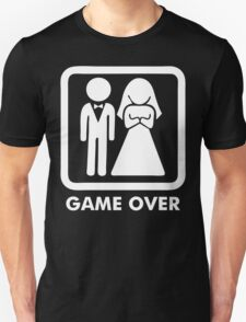 Game Over Funny T-Shirt Marriage Wedding Party Groom Couple Love T-Shirt T-Shirt