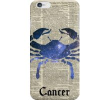 Cancer Crab Zodiac Sign,Space Stencil Collage over old Encyclopedia Page iPhone Case/Skin