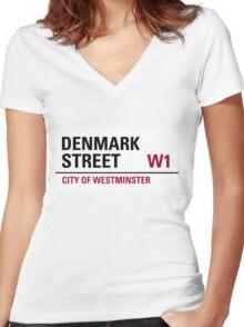 Denmark Street London Road Sign Women's Fitted V-Neck T-Shirt