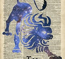 Leo Lion Zodiac Sign,Horoscope and Astronomy Space Collage,Dictionary Art by DictionaryArt