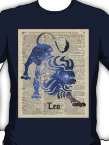 Leo Lion Zodiac Sign,Horoscope and Astronomy Space Collage,Dictionary Art T-Shirt