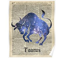 Taurus Zodiac Sign,Space Collage Over Old Vintage Encyclopedia Page Poster
