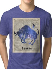 Taurus Zodiac Sign,Space Collage Over Old Vintage Encyclopedia Page Tri-blend T-Shirt