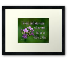 Witness with our spirit ~ Romans 8:16 Framed Print