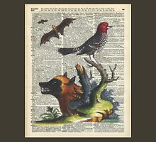 Animals Zoology old illustration over a Old Dictionary Page,Forest,Nature Unisex T-Shirt