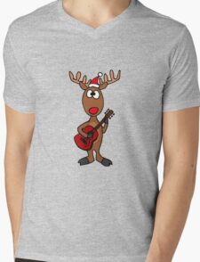 Cool Rudolph the Red Nosed Reindeer Playing Red Guitar Mens V-Neck T-Shirt