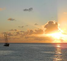Ship at Sunset by Oksana Fox