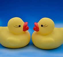 Cute Couple of Yellow Bathroom Rubber Ducks by HotHibiscus