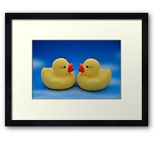 Cute Couple of Yellow Bathroom Rubber Ducks Framed Print