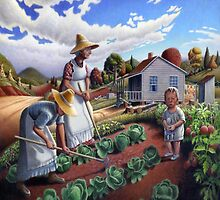 Family Vegetable Garden Country Farm Landscape  by Walt Curlee