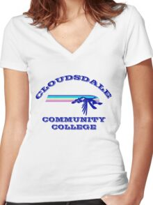 Cloudsdale Community College Women's Fitted V-Neck T-Shirt