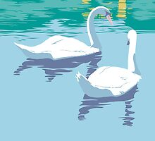 Abstract Swans retro pop art landscape  by Walt Curlee