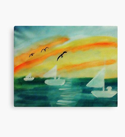 Soothing sunset, watercolor Canvas Print