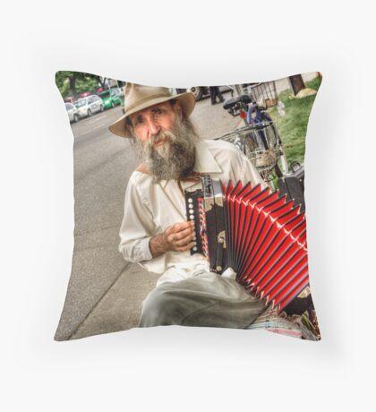 Street Music Man Throw Pillow